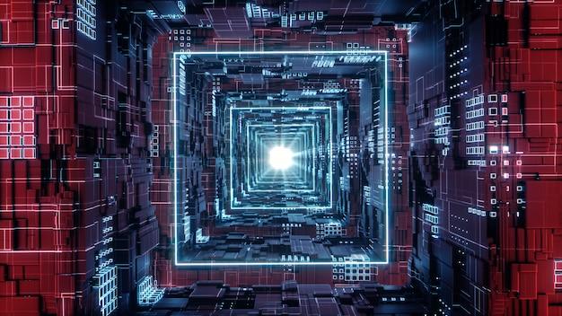 3d render rhombus futurista neon tunnel em 4k Foto Premium