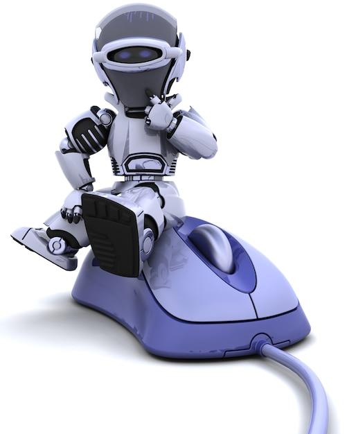 3d, render, robô, computador, rato Foto gratuita