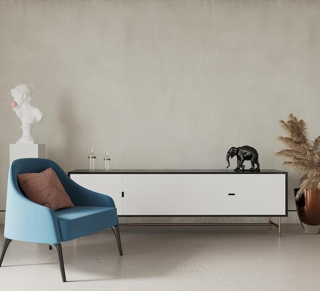 3d render sala de estar moderna com poltrona azul Foto Premium