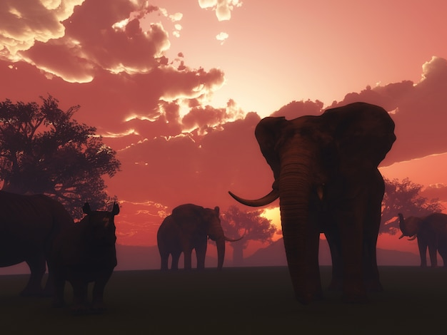 3d, render, selvagem, animais, pôr do sol, paisagem Foto gratuita
