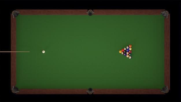 3d render tiro inicial de um jogo de bilhar vistas superiores Foto Premium