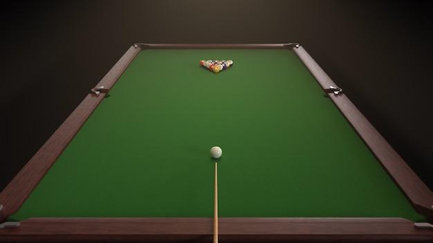 3d render tiro inicial de um jogo de bilhar Foto Premium