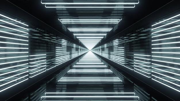 3d render túnel em loop com equalizador de néon Foto Premium