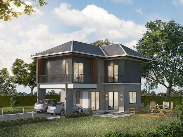3d rendering bela casa cinza exterior Foto Premium