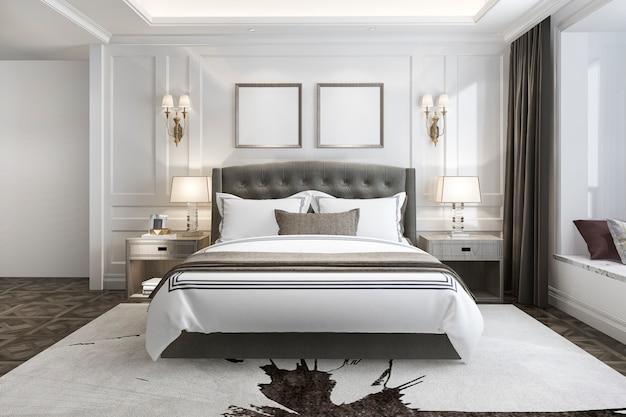 3d rendering bela suite de luxo em hotel com tv Foto Premium