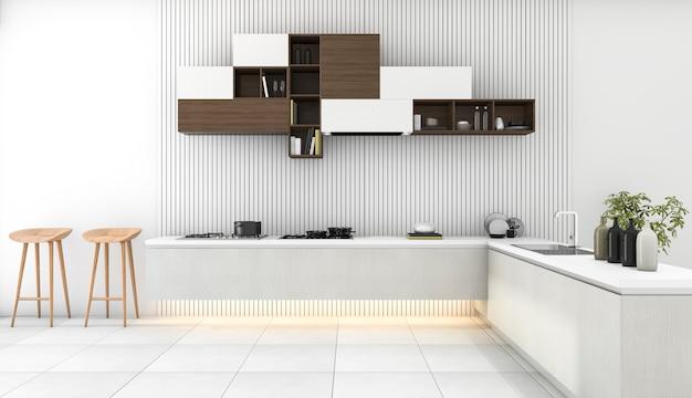 3d rendering branco cozinha moderna com decoração minimalista Foto Premium