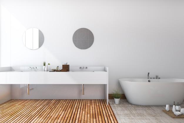 3d rendering branco mínimo banheiro e banheiro com piso de madeira Foto Premium