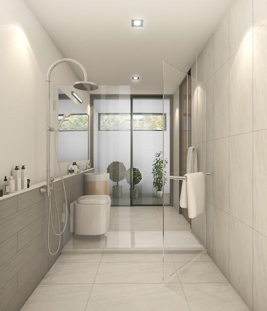 3d rendering branco nice moderno banheiro com boa decoração Foto Premium