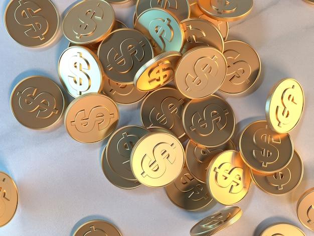 3d rendering gold coin conceito de economia de negócios de símbolo de dólar Foto Premium