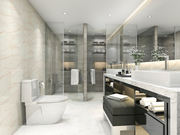 3d rendering moderno clássico banheiro com decoração de azulejo de luxo Foto Premium