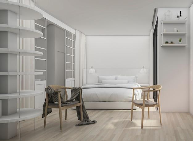 3d rendering white clean quarto moderno com cadeira escandinávia Foto Premium