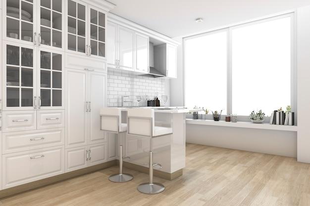 3d, renderização, branca, estilo escandinavo, cozinha, e, sala de jantar Foto Premium