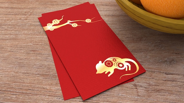 3d, renderização, envelope vermelho, recompensa, ano novo chinês Foto Premium