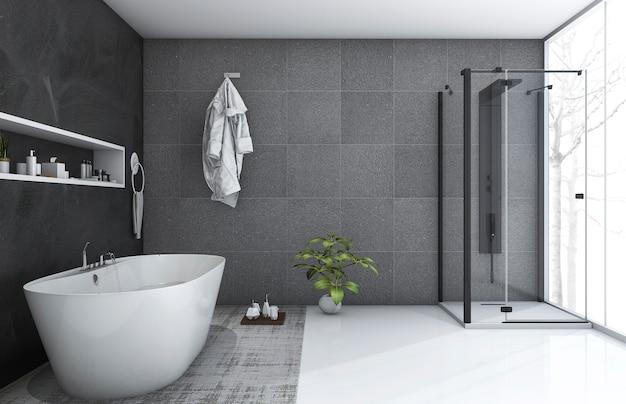3d, renderização, estilo moderno, banheiro, com, agradável, inverno, vista Foto Premium