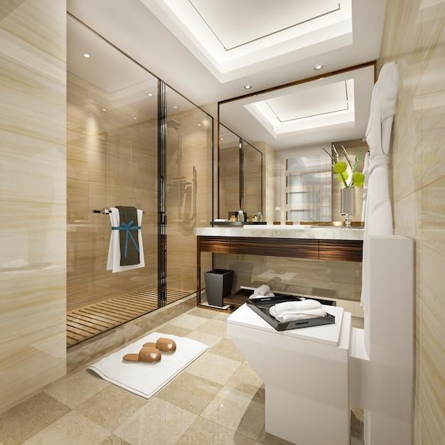 3d, renderização, modernos, banheiro, com, luxo, azulejo, decoração Foto Premium