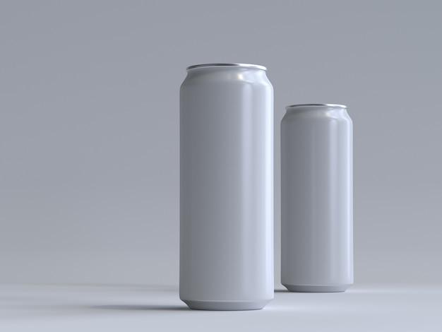 3d renderizado lata de refrigerante sem um rótulo Foto Premium