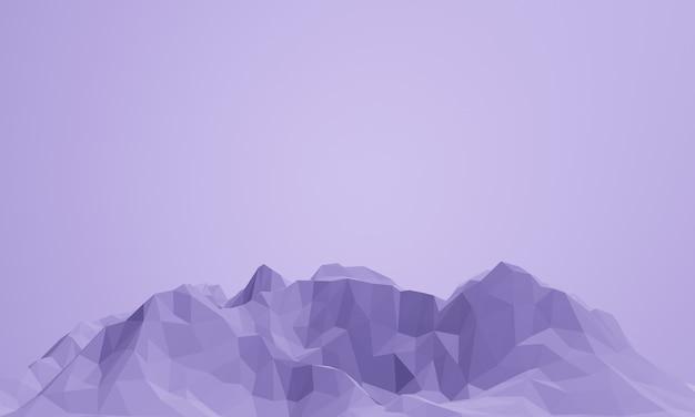 3d renderizado montanha roxa baixa poli. Foto Premium