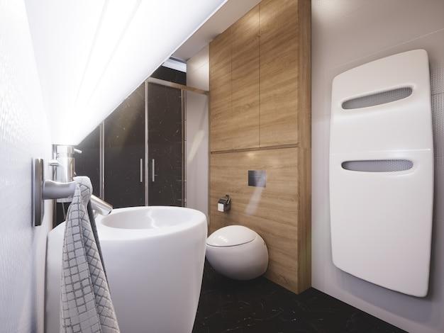 3d rendeu o banheiro decorado moderno Foto Premium