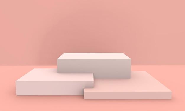 3d rendido - fundo cor-de-rosa da exposição do produto do pódio da cor do pêssego Foto Premium