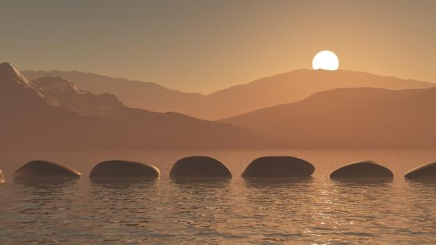 3d trampolins no oceano contra uma paisagem de montanha do sol Foto gratuita