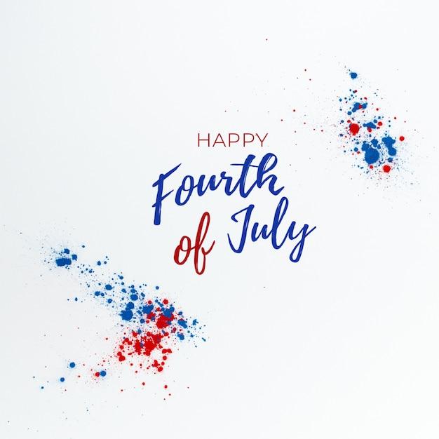 4 de julho de fundo com letras e fogos de artifício feitos com salpicos de cor holi Foto gratuita