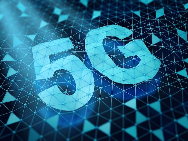 5g símbolo e uma rede de células triangulares em um fundo escuro. 3d rendem. Foto Premium