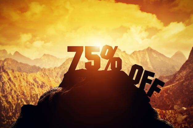 75% de desconto na escrita em um pico de montanha. Foto Premium