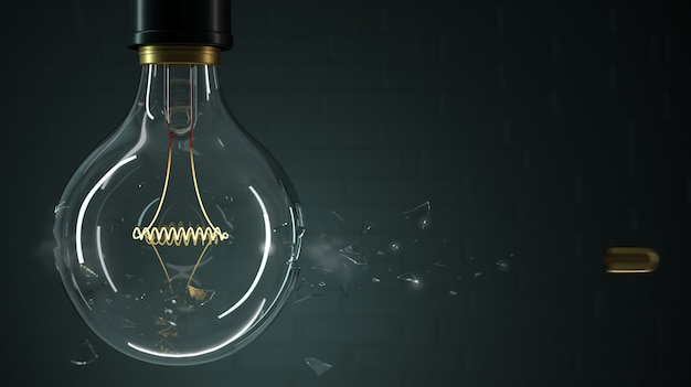 A bala perfura uma lâmpada Foto Premium