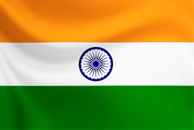 A bandeira da índia acenando em tecido de textura Foto Premium