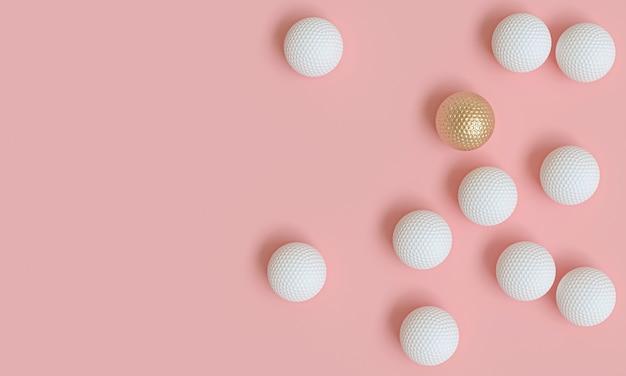 A bola de golfe do ouro entre muitos branco, imagem 3d rende no estilo liso da configuração. Foto Premium