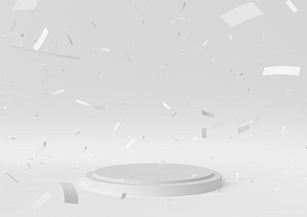 A cena branca do pódio da fase para a celebração da concessão, 3d rende, ilustração 3d. Foto Premium