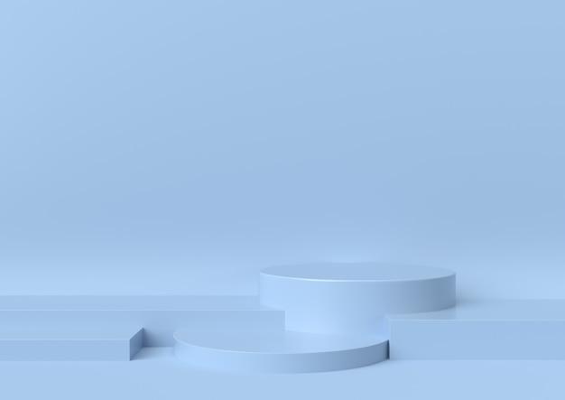 A cena do pódio da fase para a mostra no fundo azul, 3d rende. Foto Premium