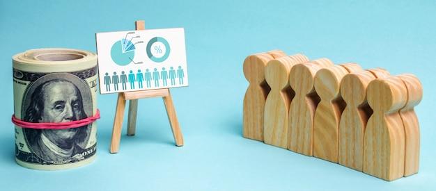 A equipe está de pé ao lado de um gráfico de negócios e dinheiro. conceito de estratégia de negócios. Foto Premium