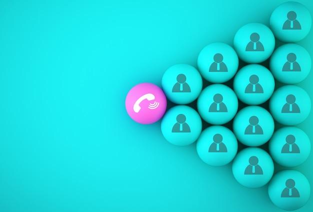 A esfera de telefone de botão com pessoas de ícone Foto Premium