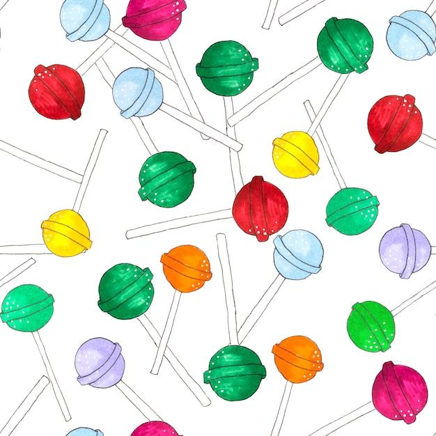 A esfera deu forma ao teste padrão sem emenda dos pirulitos no branco. chupa chups doces. Foto Premium