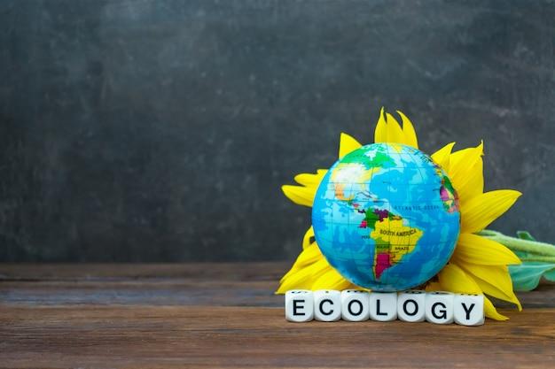 A esfera do globo da terra contra o girassol amarelo e a ecologia da palavra Foto Premium