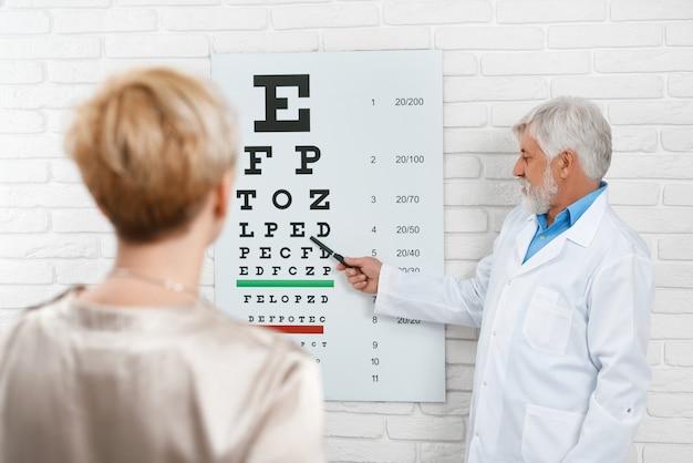 A foto do oftalmologista idoso está cheking a visão do paciente. Foto Premium