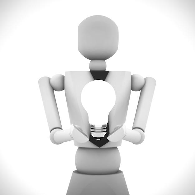 A ilustração 3d da boneca de madeira empresarial Foto Premium