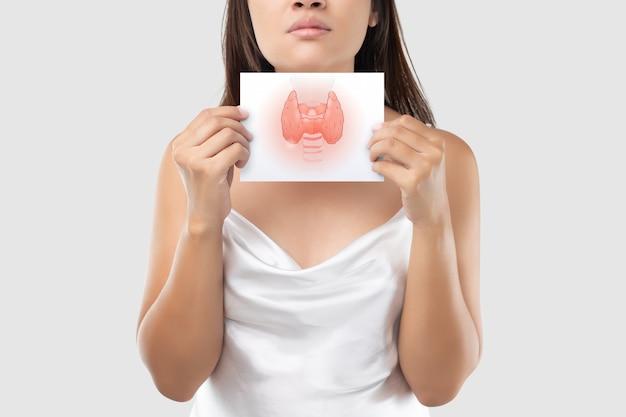 A ilustração da tireóide no papel branco está no pescoço da mulher. Foto Premium