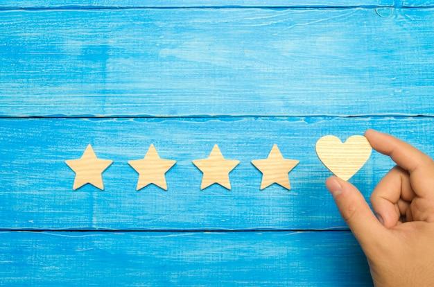 A mão coloca o coração nas quatro estrelas. escolha de compradores. Foto Premium
