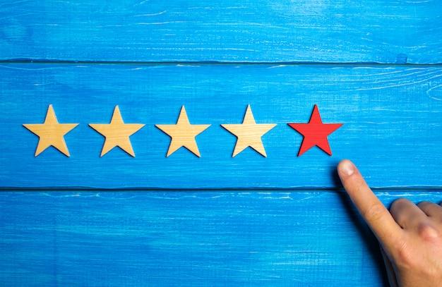 A mão masculina aponta para a quinta estrela vermelha sobre um fundo azul de madeira. Foto Premium
