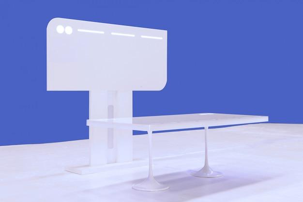 A mesa de trabalho moderna e monitor de exibição Foto Premium