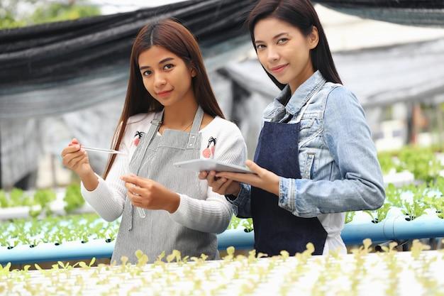 A mulher que é dona da fazenda de vegetais hidropônicos e seus consultores. eles estão testando as condições da água em hortas. Foto Premium