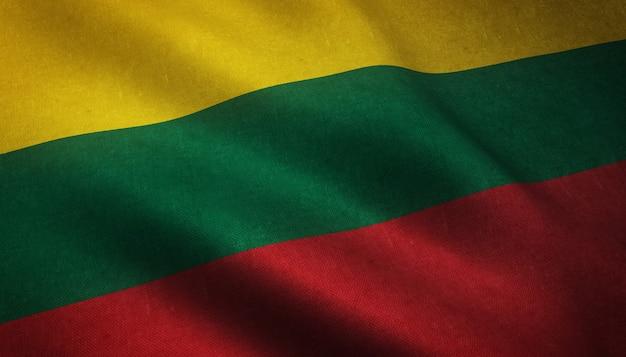 A ondulação da bandeira da lituânia Foto gratuita