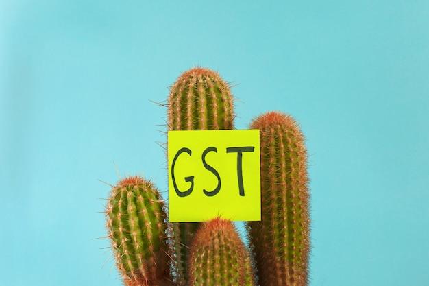 A palavra gst imposto sobre bens e serviços em um cacto espinhoso no azul Foto Premium