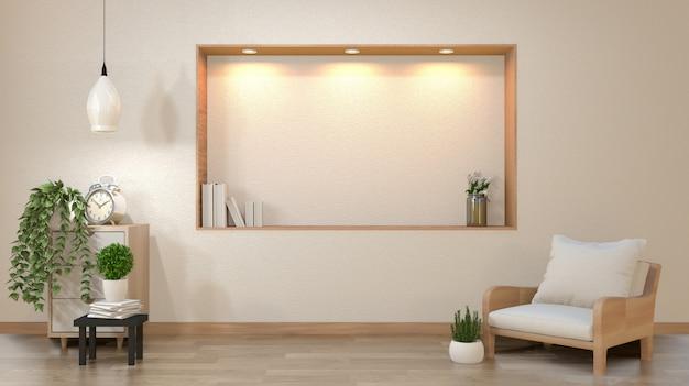 A parede branca vazia da sala de visitas do zen com projeto do estilo de japão da decoração ilumina para baixo na parede da prateleira. renderização em 3d Foto Premium