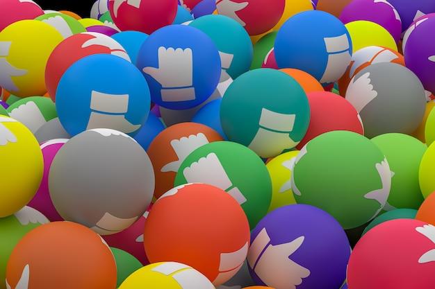 A reação do facebook emoji 3d faz fotos premium, simbolizando balões de mídia social com um polegar para cima para várias cores Foto Premium