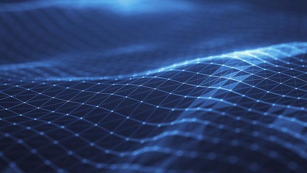 A rede abstrata do plexo intitula o fundo digital da tecnologia forma geométrica. Foto Premium
