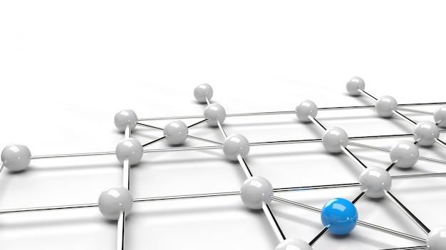 A rendição azul e branca da estrutura de rede 3d da esfera abstrata do projeto da conexão do projeto. Foto Premium
