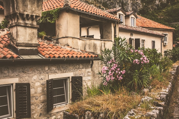 A rua da cidade montenegrina de kotor Foto Premium